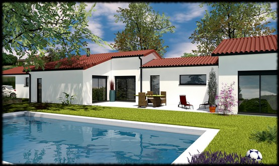 Maison individuelle de plain pied palissandre 150 m for Maison individuelle contemporaine