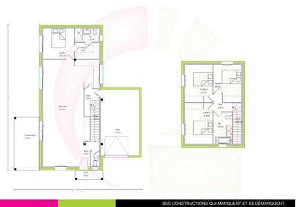 Plan de maison contemporaine à étage123 m2 AZOBÉ 2016
