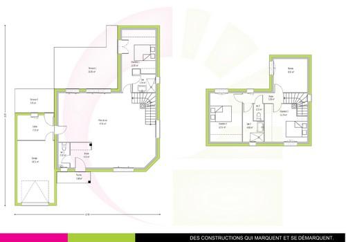 Plan de maison individuelle 132 m2 OZIGO