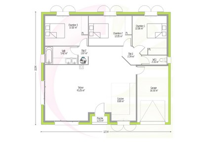 Maison contemporaine de plain pied kamotte 100 m for Plan maison contemporaine bbc