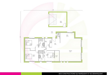 Plan maison contemporaine de plain-pied 110 m2 EBIARA
