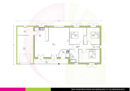 Plan maison individuelle de plain-pied100 m2 EPICEA