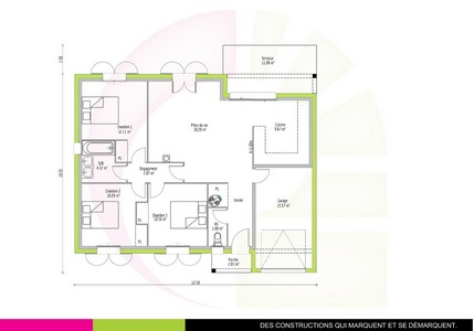 Plan maison traditionnelle de plain-pied 82m2 ACAJOU