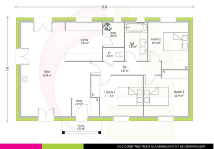 Plan Maison 90M2. Fabulous Plan De Maison M Une Face With Plan