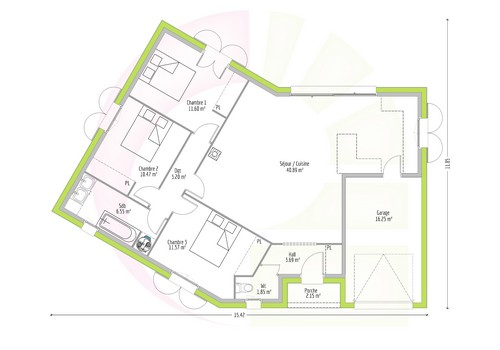 Plan Maison De Plainpied 90 M2 Ossabel