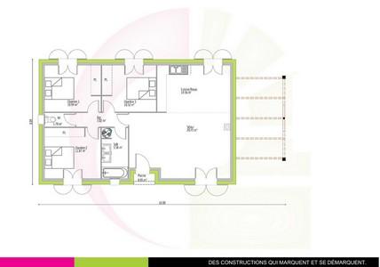 plan maison toulousaine de plain-pied 85 m2 BANGKIRAI