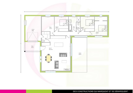 Plan de maison contemporaine de plain-pied 117 m2 KAPUR