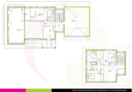 plan maison contemporaine à étage168 m2 MERBAU