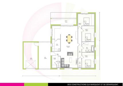 plan maison plain-pied 119 m2 CHAWARI