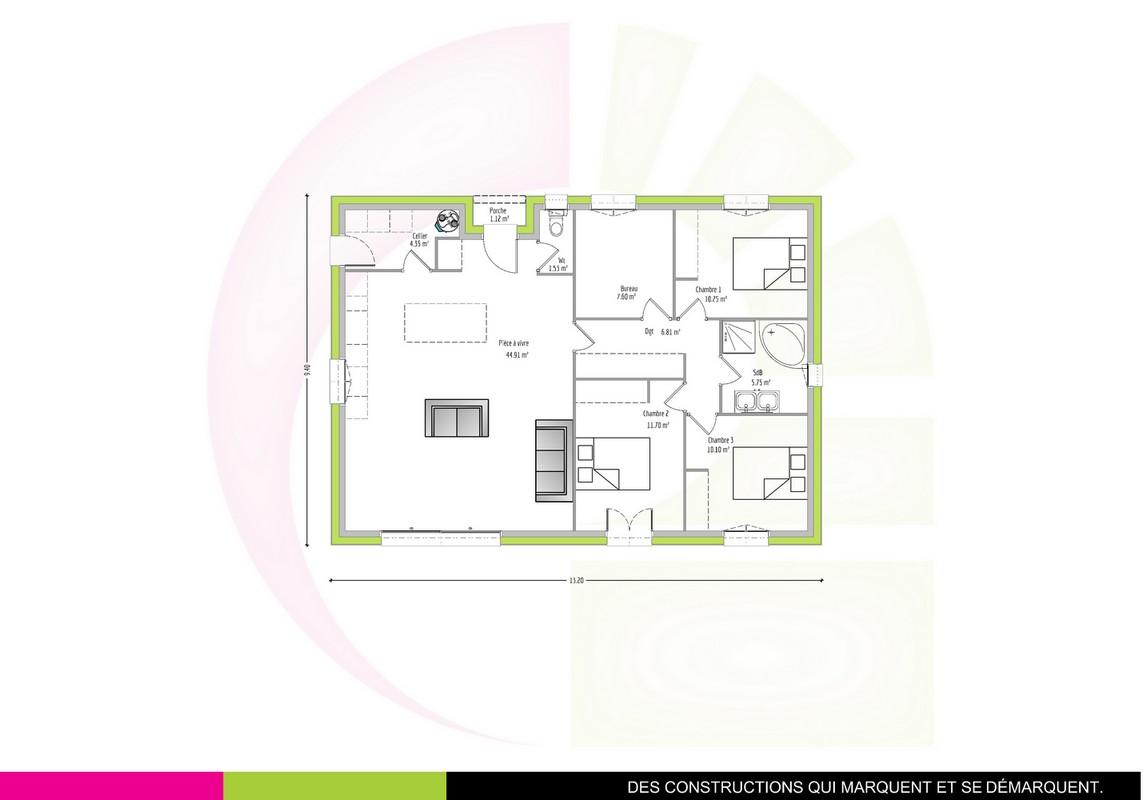 Plan maison plain-pied T5 102 m2 TAMALIN