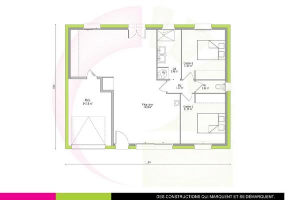 plan maison plain-pied classique 75 m2 BOCOTTE