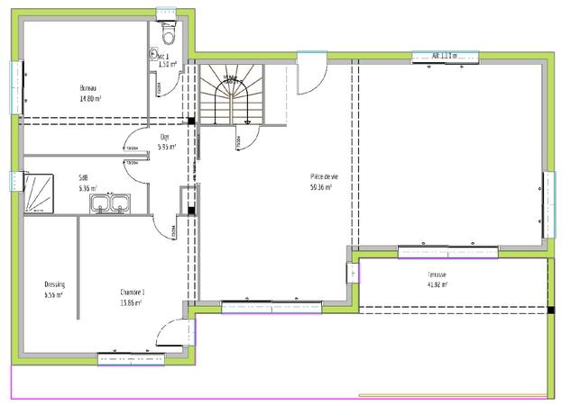 Maison neuve Corronsac plan RDC