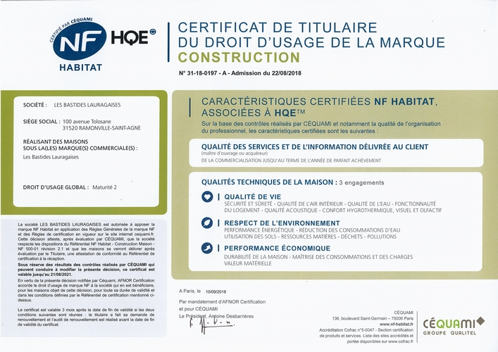 Les Bastides Lauragaises Certificat NF HABITAT HQE